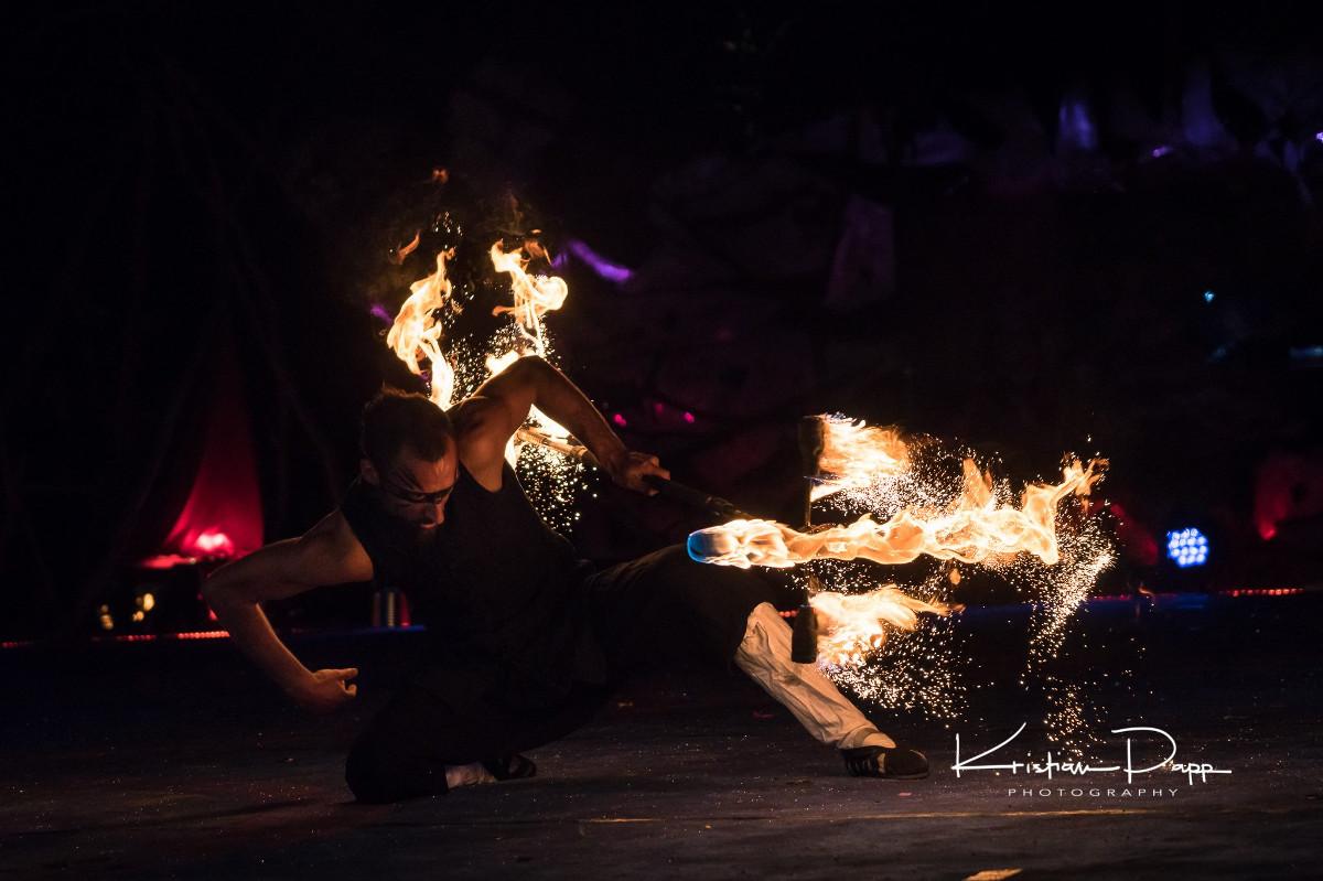 Mathieu en posture de wushu et son dragon staff feu et étincelle